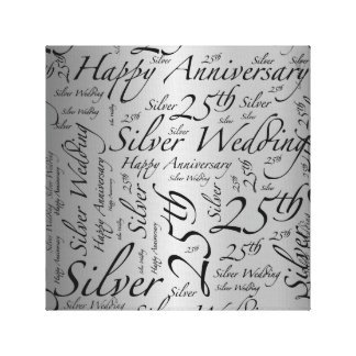 Happy 25th Anniversary Word Art Graphic Canvas Print