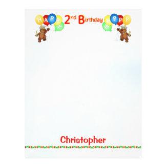 Happy 2nd Birthday Bear Scrapbook Paper 2 21.5 Cm X 28 Cm Flyer