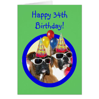 Happy 34th Birthday Boxer Dogs Card