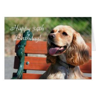 Happy 34th Birthday Cocker Spaniel Greeting Card