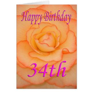 Happy 34th Birthday Flower Card
