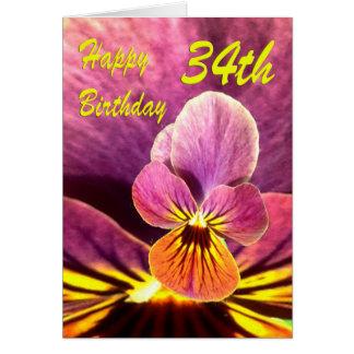 Happy 34th Birthday Flower Pansy Card