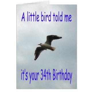 Happy 34th Birthday Flying Seagull bird Card