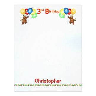 Happy 3rdd Birthday Bear Scrapbook Paper 2 21.5 Cm X 28 Cm Flyer