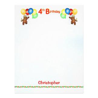 Happy 4th Birthday Bear Scrapbook Paper 2 21.5 Cm X 28 Cm Flyer