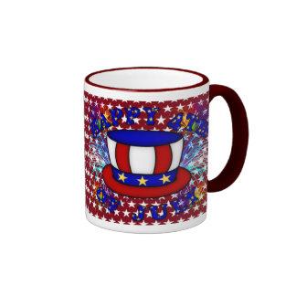 Happy 4th July Crackers Ringer Mug