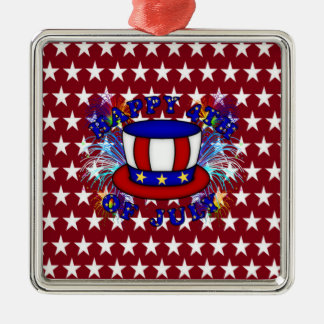Happy 4th July Crackers Silver-Colored Square Decoration