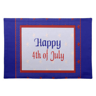 Happy 4th of July, Red Stars on Blue and White Placemat
