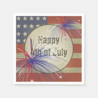Happy 4th of July | Rustic Vintage Paper Napkin