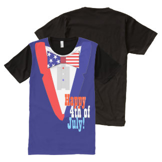 Happy 4th of July US Bowtie Tuxedo All-Over Print T-Shirt