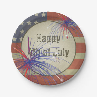 Happy 4th of July | Vintage Style 7 Inch Paper Plate