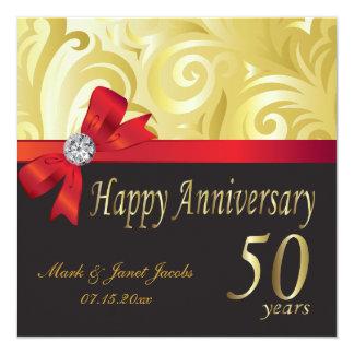 Happy 50th Anniversary   Gold Swirls Card