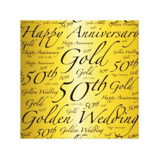Happy 50th Anniversary Word Art Graphic Canvas Print