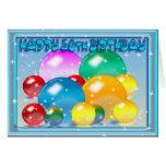 Happy 50th Birthday colours, colourful orbs Card