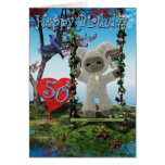 Happy 50th Birthday lamb and bird heart water Greeting Cards