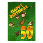 Happy 50th Birthday monkey swinging through the tr Greeting Card