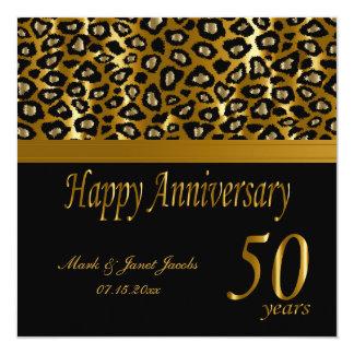 Happy 50th Golden Anniversary   Leopard Pattern Card