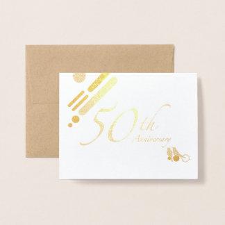 Happy 50th Golden Anniversary Mod Birds Foil Card