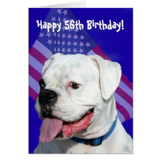 Happy 56th Birthday Boxer greeting card