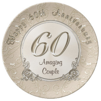 Wedding Anniversary Gift Baskets Nz : Happy 60th Wedding Anniversary Gifts CUSTOMIZABLE Porcelain Plate