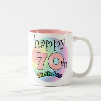 Happy 70th Birthday roze Koffie Bekers