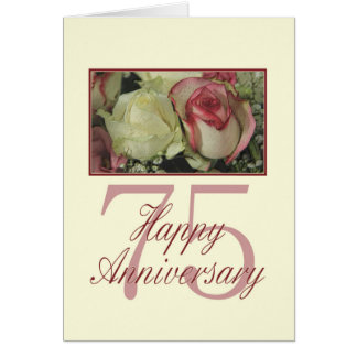 Happy 75th Anniversary roses Greeting Card