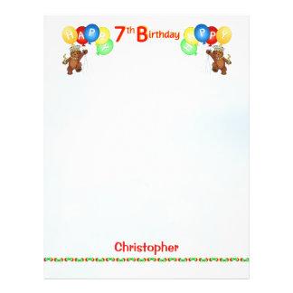 Happy 7th Birthday Bear Scrapbook Paper 2 21.5 Cm X 28 Cm Flyer