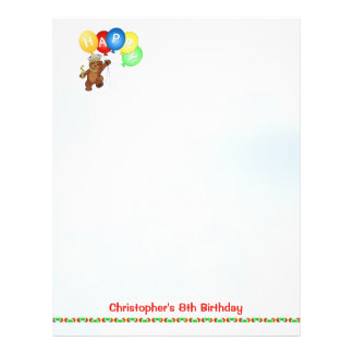 Happy 8th Birthday Bear Scrapbook Paper 4 Personalized Flyer