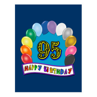 Happy 95th Birthday with Balloons Postcard