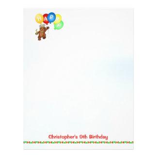 Happy 9th Birthday Bear Scrapbook Paper 4 Flyer