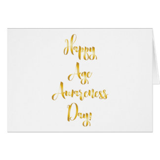 Happy age awareness day gold funny birthday greeting card