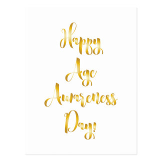 Happy age awareness day gold funny birthday postcard