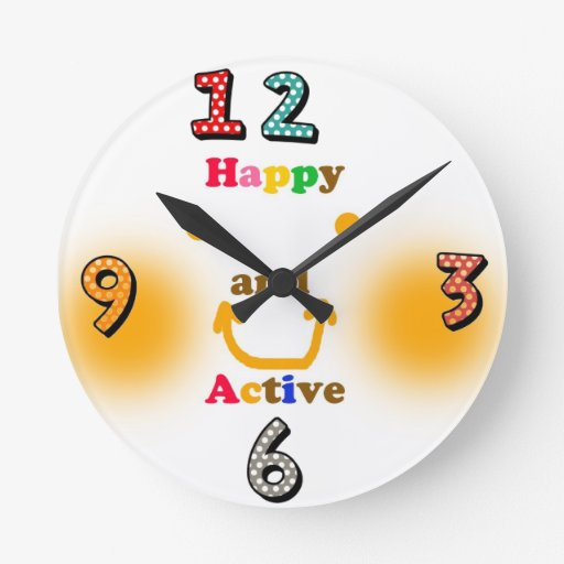 Happy and Active Round Clocks