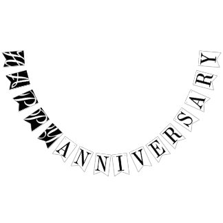 HAPPY ANNIVERSARY BLACK AND WHITE DECOR BUNTING