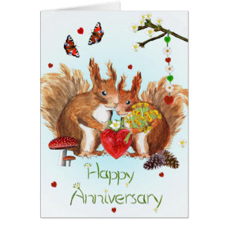 """Happy Anniversary"" card with cute squirrels"