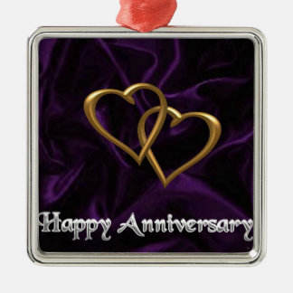 Happy Anniversary - Gold rings on purple Christmas Ornament