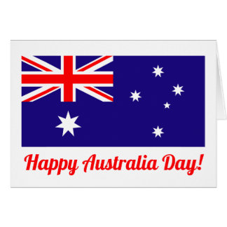 Happy Australia Day greeting card with flag