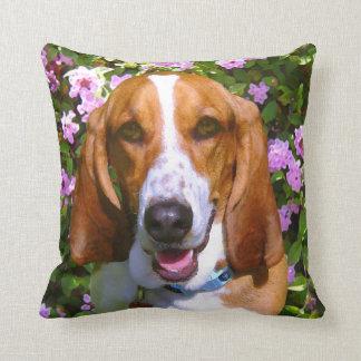 Happy Basset Hound Throw Pillow