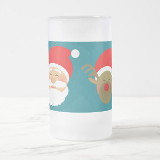 Happy Beautiful Cartoon Santa Reindeer Turquoise Frosted Glass Beer Mug