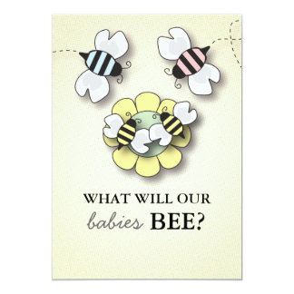 Happy Bee Family Baby Gender Reveal Display Card