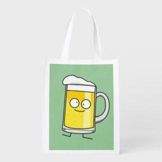 Happy Beer mug stein foam drunk happy alcohol Reusable Grocery Bag