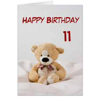 Happy Birthday 11th Teddy Bear Theme Card