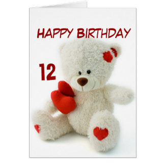 Happy Birthday 12th Teddy Bear Theme Card