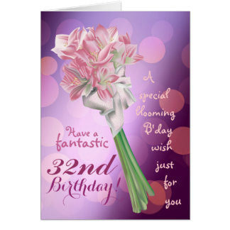 Happy Birthday ! - 32nd pink flowers Greeting card