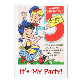 Happy Birthday 5 Year Old Inite 13 Cm X 18 Cm Invitation Card
