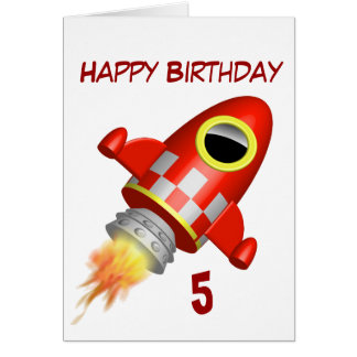 Happy Birthday 5th Little Rocket Theme Card