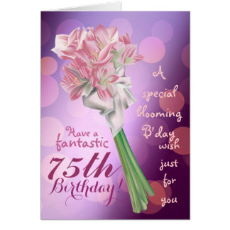 Happy Birthday ! - 75th pink flowers Greeting card