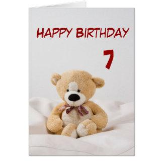 Happy Birthday 7th Teddy Bear Theme Card