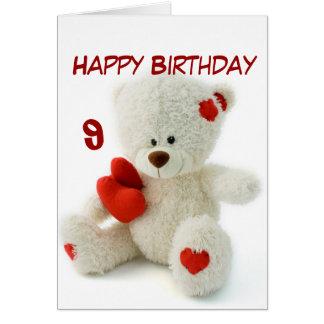 Happy Birthday 9th Teddy Bear Theme Card