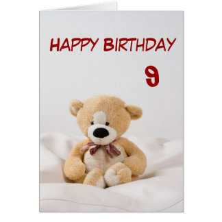 Happy Birthday 9th Teddy Bear Theme Card
